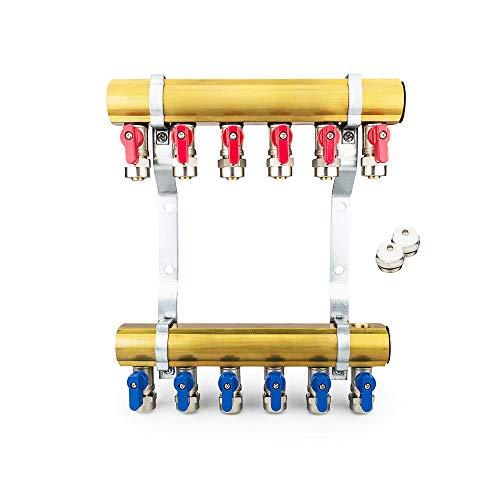 Messing Heizkreisverteiler 2-12 fach Verteiler Heizkreise Heizung (6 Heizkreise)