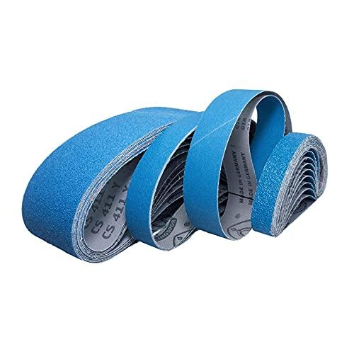Klingspor CS 411 Y - Bandas de lija resistentes al agua, 150 x 2515 mm, 10 unidades, grano 36 (10 cintas)