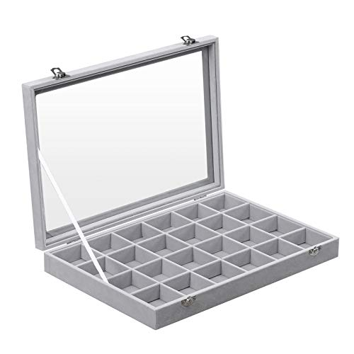 SONGMICS Jewelry Box Display Case with a Clear Glass Window and 24 Compartments, Gray