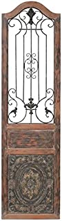 """Deco 79 Rustic Arched Door-Inspired Wood and Metal Wall Decor, 72"""" H x 19"""" L, Distressed Chestnut Brown Finish"""