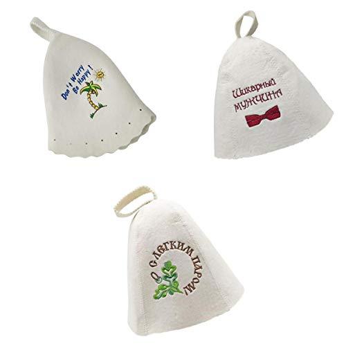 刺繍入りバニャハット サウナ帽子 サウナヘッド保護 ホワイト 3ピース 実用性