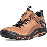 ROCKROOSTER Mens Hiking Shoes, Waterproof 4'' Non Slip Outdoor Boots, Breathable, Lightweight, Anti-Fatigue(KS252 Brown, 11)