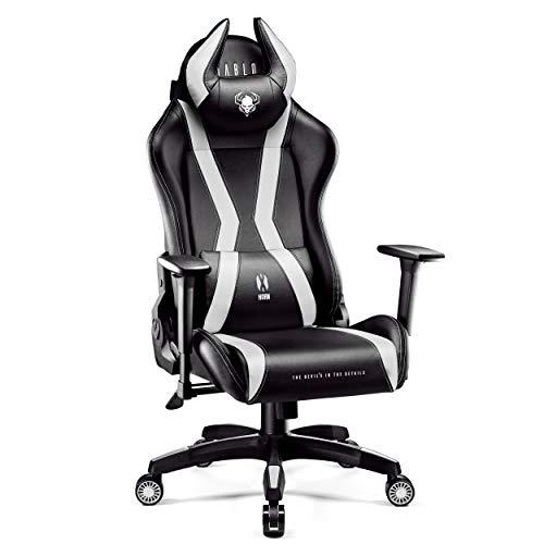 Diablo X-Horn Gaming Stuhl Bürostuhl Schreibtischstuhl 3D Armlehnen Ergonomisches Design Nacken/- Lendenkissen Kunstleder Wippfunktion (schwarz-weiß, XL)