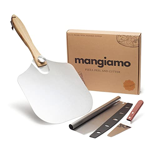 Aluminum 12''x14'' Pizza Peel with Pizza Cutter 14'' Rocker Blade - Pizza Spatula, Long Handle for Indoor and Outdoor Pizza Oven
