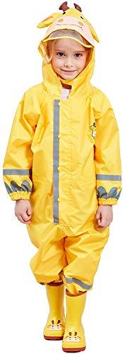 Mono impermeable para niños, transpirable, con capucha, reflectante, ligero, poliuretano, sombrero transparente con bordes, ropa de lluvia (Yellow,L)