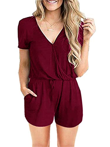 ANRABESS Women's Summer Solid Elastic Waist Jumpsuit Casual Loose Short Sleeve Jumpsuit Rompers with Pockets A205jiuhong-S 05