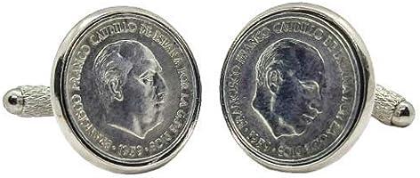 Gemelos para camisa: Genumis Franco - Moneda 10c pesetas 1959 España - Color Plateado - 18 mm