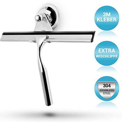 stracks® Edelstahl Duschabzieher - Kein Bohren! Duschwischer mit Saugnapfhalterung & 3M Kleber - Inkl. Silikon Wischlippe… (Schwarz)