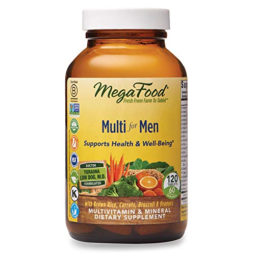 MegaFood, Multi for Men, Supports Optimal Health and Wellbeing, Multivitamin and Mineral Dietary Supplement, Gluten Free, Vegetarian, 120 tablets (60 servings)