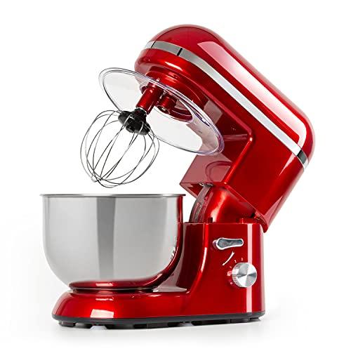 Klarstein Bella Elegance Küchenmaschine - 1300 W/1,7 PS Knetmaschine, Rührmaschine mit Pulsfunktion, Planetarisches Rührsystem, 5L Edelstahlschüssel, 3-tlg. silberfarbene Applikationen, rot