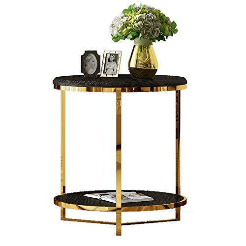 Bijzettafel,salontafel,koffietafel Koffietafel Living Room Round 2 Lagen Sofa Side Table roestvrij staal Corner Table Storage Shelf theetafel, 50 * 52cm