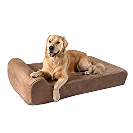 Big Barker 7″ Pillow Top Orthopedic Dog Bed – Large Size – 48 X 30 X 7 – Khaki – For Large and Extra Large Breed Dogs (Headrest Edition)