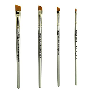 "ZEM Brush Golden Taklon Angle Shaders Brush Set Sizes 1/8"", 1/4', 3/8"", 1/2"""