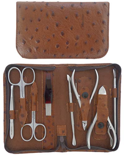 Set Manucure et Pedicure Professionnel 8 Pièces Inox en Cuir avec Fermeture à Glissière - Tenartis Fabriqué en Italie (Marron)