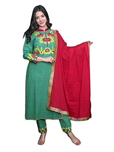 Etnica India Suave Verde Rayón Bordado Recto Kurti y Pantalones Kurti Conjunto Mujer Kurta 469i - - XXL