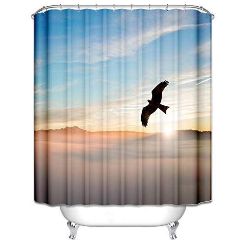 DOLOVE 3D Wasserdicht Duschvorhänge Fliegender Adler Blauer Himmel Duschvorhang 150x180 Duschvorhang Peva Bunt