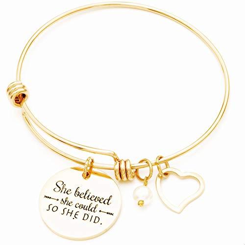 Jude Jewelers Pulsera inspiradora de acero inoxidable, She Believed She Could So She Did