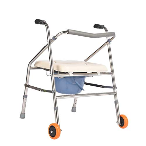 Bathroom Wheelchairs RRH Bedside Commodes 4-in-1 Folding Commode Chair, Walking Frame, Bath Chair, Raised Toilet Seats Suitable for Elderly Person Pregnant Woman Handicapped Person