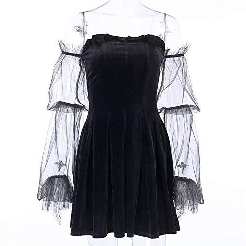 Cospaly Fashion Goth Robe gothique vintage en maille foncée Egirl 2020 avec bretelles transparentes et plissées Style chic Punk Hip Hop Grunge Emo Y2K Chic (couleur : noir, taille : XL)