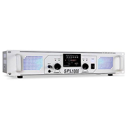 Skytec SPL-1000 PA-Verstärker für Karaoke Bühne und Konzert (MP3-fähige USB-SD-Slots, 2800 Watt, UKW-Radio) weiß