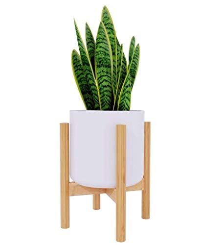Plant Stand Flower Pot Holder - BAMFOX Indoor Bamboo Mid Century Modern Plant Holder Display Rack...