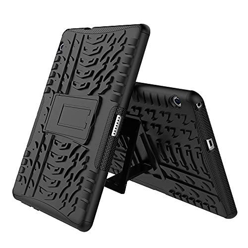 SZCINSEN Funda para tablet Huawei Mediapad T3 de 10 pulgadas con textura de neumáticos a prueba de golpes TPU+PC Funda protectora con asa plegable (Color: Negro)