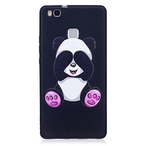 ISAKEN Compatibile con Huawei P9 Lite Custodia (No Strap) - Ultra Sottile Morbido TPU Cover Protezione Posteriore Case Antiurto Nero Bumper Caso Soft Sollievo TPU Backcover, Panda
