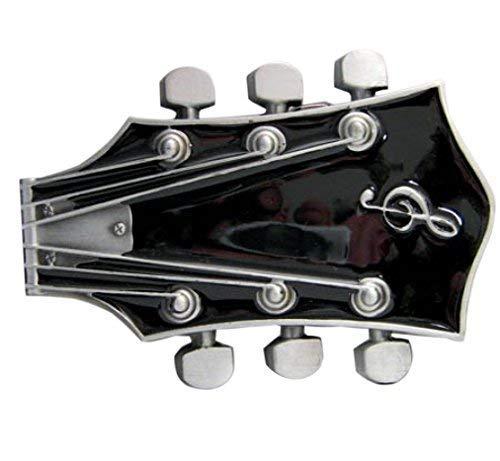 Piratenladen Buckle Gitarrenkopf, schwarze Gitarre, Guitar, Gürtelschnalle