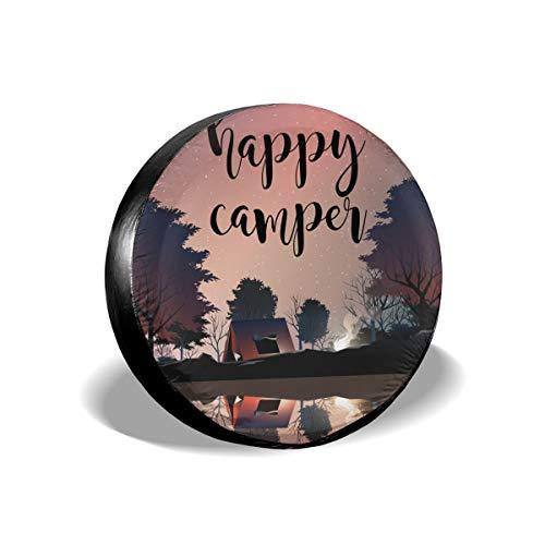 Field Rain Happy Camper Scenery Spare Tire Cover for Trailer RV SUV Truck Wheel Weatherproof Tyre Protector