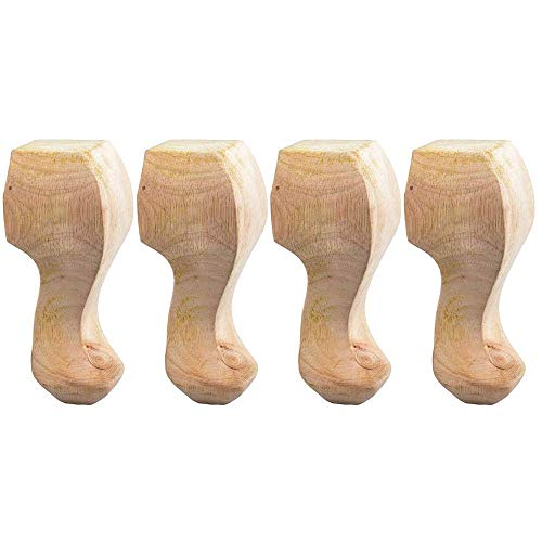 Furniture Legs Wooden Table Legs Furniture Leg Pads,Reliable Solid Wood Flower Carved Foot Frame Decor Furniture Table TV Cabinet Seat Sofa Feet Craft Unpainted Door Decor Wall Art,b,15 * 6.