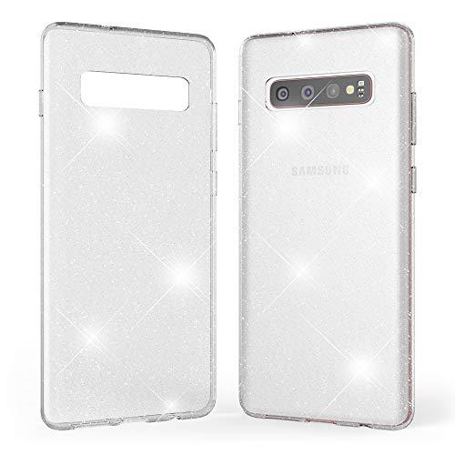 Kaliroo Handyhülle Glitzer kompatibel mit Samsung Galaxy S10 Plus, Durchsichtige Diamant Hülle Silikon Schutzhülle Glitter Hülle Ultra-Slim Cover Bling Handy-Tasche Strass Backcover Etui - Transparent