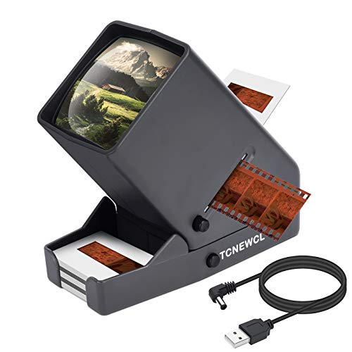 TCNEWCL 35mm Slide Viewer, 3X Magnification and LED Lighted Illuminated Viewing, Suitable for 35mm Slides and Film Negatives, Battery or USB Powered Operation