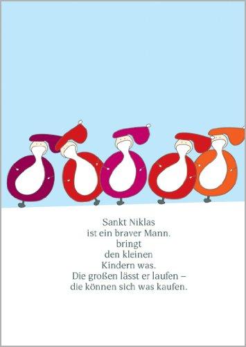 5 x kerstkaarten met 5 kogelige kerstmannen/Sinterklaasen: Sankt Niklas is een Braver Mann. • Feestelijke wenskaarten set met enveloppen voor het feest van de liefde als cadeaukaart voor familie