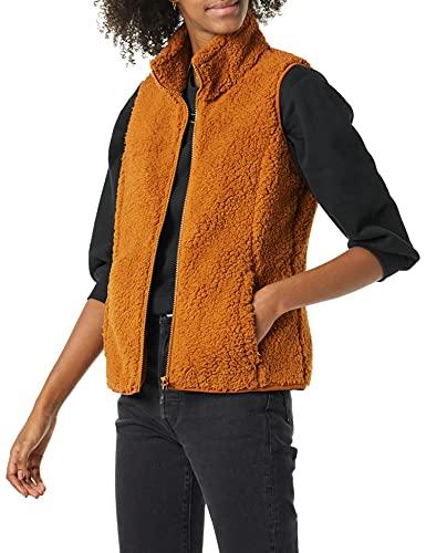 Amazon Essentials Women's Polar Fleece Lined Sherpa Vest, Tan, Medium