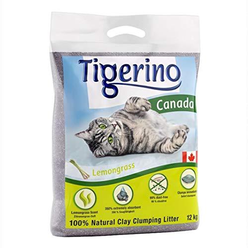 Tigerino Canada lettiera per gatti profumata alla citronella, 12 kg, realizzata in granuli di argilla naturale fine senza polvere, 100% naturale, con supporto