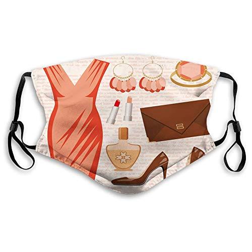 hangong Cómodos impresos, tacones y vestidos, accesorios de moda vestido de cóctel lápiz labial pendientes tacones, marrón salmón