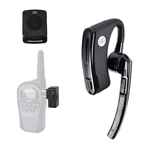 HYS Bluetooth Wireless Two Way Radio Walkie-Talkie Headset Earpiece with Finger PTT for Midland LXT80 LXT110 LXT112 LXT114 ICOM IC-F4 F20 F21 F22 F24 F25 F26 V8 V80 V80E V82 2pin wakie-Talkie