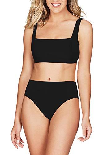 Viottiset Women's High Waisted Ribbed Square Neck Cheeky Bikini Swimsuit Black Bathing Suit M