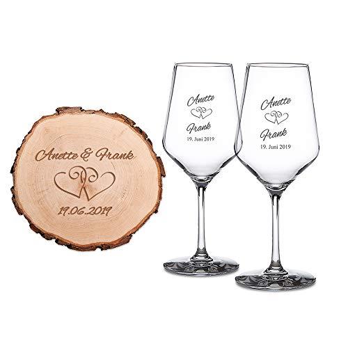 Casa Vivente Set Regalo di Nozze, 2 Calici Vino Bianco e Disco Tronco Albero con Incisione Personalizzata Nomi e Data, Motivo Cuori