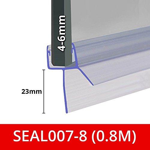 Abdichtung für Duschwände, -türen oder -platten | Passend für 4, 5oder 6mm dickes Glas | Gerade Lamellenform | Dichtung für Spalte von bis zu 23mm | 80cm, 90cm, 140cm oder 2m lang | SEAL007