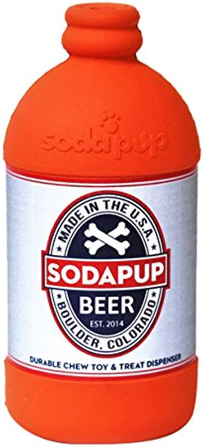 SodaPup Natural Rubber Beer Bottle Large Treat Dispenser Slow Feeder Dog Chew Toy Orange Made in USA