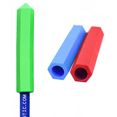 ARK's Krypto-Bite Pencil Topper Chewable Tubes - Made in The USA (Combo - 1 of Each Toughness, Red/Green/Blue)