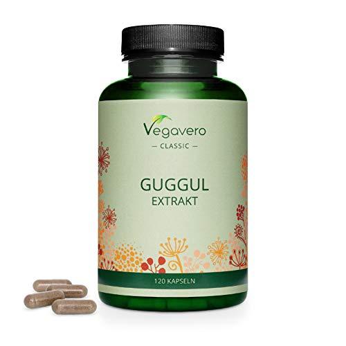 GUGGUL Kapseln Vegavero ® | 120 Kapseln | Hochdosiert 520mg pro Kapsel (10:1 Extrakt) | Indische Myrrhe | Ayurveda Heilkunst | Frei von Zusätzen und Gentechnik | Vegan