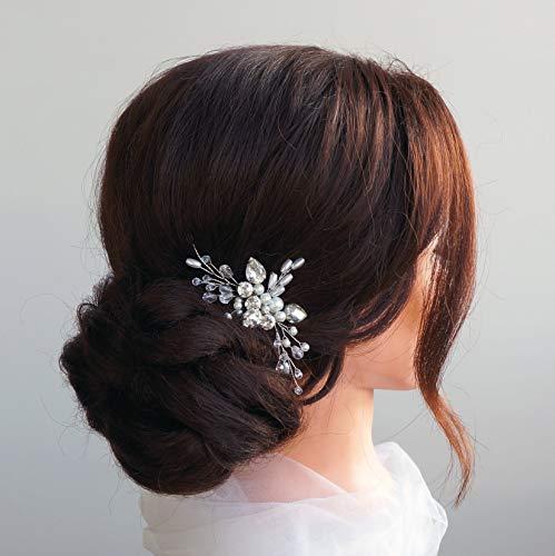 Kercisbeauty Hochzeitskamm mit Kristallen und Perlen, Braut, Brautjungfern, Blumenmädchen, Haarschmuck, Kopfschmuck, Accessoire für lange und gelockte Haare und Hochsteckfrisuren, Haar-Accessoires