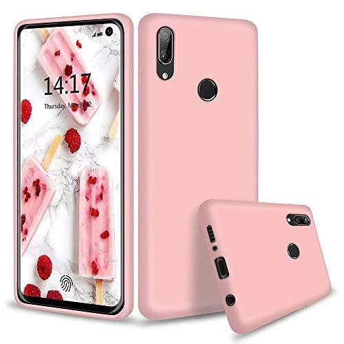 KSHOP Compatible con Funda Huawei y7 2019 Silicona Líquida Ultrafina Flexible TPU Gel Case Anti-Deslizante/Anti-Choque Protección Carcasa - Rosa