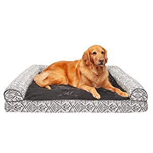 Furhaven Pet Dog Bed – Cooling Gel Memory Foam Plush Kilim Southwest Home Decor Traditional Sofa-Style Living Room Couch Pet Bed with Removable Cover for Dogs and Cats, Boulder Gray, Jumbo