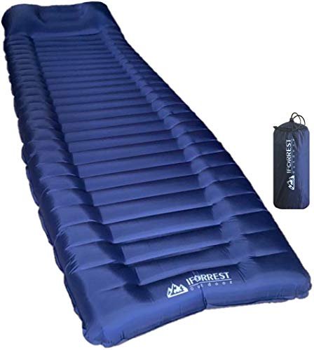 IFORREST Sleeping Pad with Armrest & Pillow - Rollover Protection - 4 inches Thick Camping Bed-Mat, (Air-Bag/Pump Included) - Best Ultralight(1.98 pounds) Camp Mats for Cot, Tent and Hammock