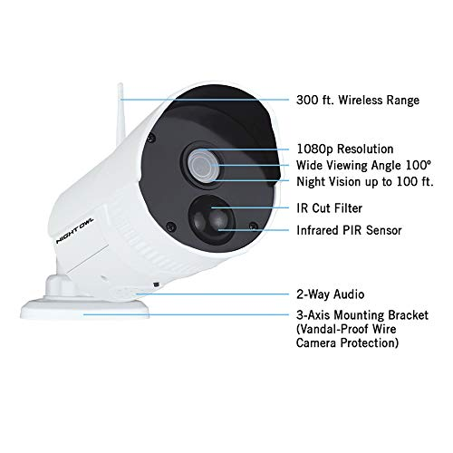Night Owl Wireless Home Security Camera System with 2 AC Powered 1080p HD Indoor/Outdoor Wireless IP Cameras wi   th Night Vision (Expandable up to a Total of 8 Wireless Devices), and 1TB Hard Drive
