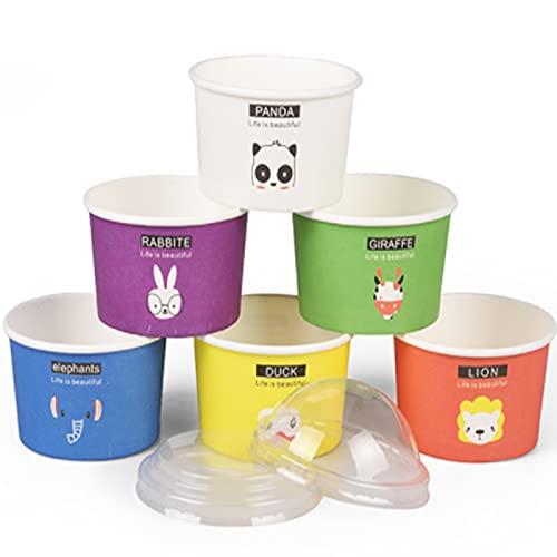 60 Tarrinas de Helado, Tarrina de Papel para Helado,Vaso de Papel para Helado con Tapa de Plástico, para Yogur, Pudín, para Embalaje de Tartas (Mezcla de colores)