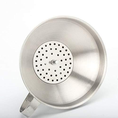Embudo de cocina de acero inoxidable con filtro extraíble y mango embudo de metal para transferir aceite líquido de vino en polvo, embudo de 13 cm y tubo de 1,4 cm